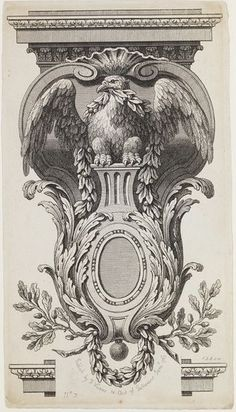 This print is by the French engraver Francois Vivares, eagle in a bracket which is decorated with acanthus leaf and acorn motifs. London, 1763.