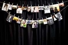 Hanging pics with clothespin and line. No framing needed for this simple bridal fair booth