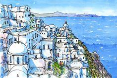 Santorini Fira 2 Greece art print from an original by AndreVoyy