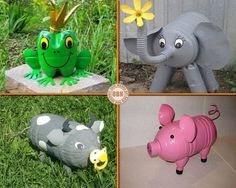 DIY Piggy Banks Made From Plastic Bottles - Find Fun Art Projects to Do at Home and Arts and Crafts Ideas Pop Bottle Crafts, Reuse Plastic Bottles, Plastic Bottle Crafts, Recycled Bottles, Recycled Crafts, Diy Crafts, Pet Bottle, Projects, Garden Decorations