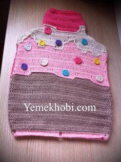 örgü cupcake sıcak su torbası kılıfı crochet