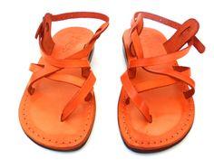 Black / Brown / Blue / Orange Leather Sandals GLADIATOR Women's Shoes Thongs Flip Flops Flats Slides Slippers