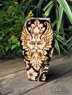 Green Man Coffin Stash Box  pyrography wood burning by MotherSpoon, $75.00