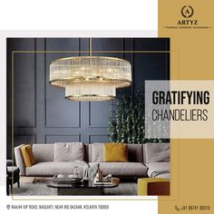 Chandeliers can instantly uplift the look of your living room.  Elevate the look of your abode with exquisite chandeliers from Artyz today!  #chandeliers #ceilinglights #designerchandeliers #designerlights #livingroomideas #Artyz Modern Chandelier, Chandelier Lighting, Chandeliers, Big Bazaar, Kolkata, Ceiling Lights, Living Room, Furniture, Design