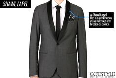 Beginners Guide To Lapels | The shawl lapel, roll collar, or shawl collar, as it's most commonly known, is defined by its continuous curve. Originally seen on the Victorian smoking jacket, it is now most common on the tuxedo and a great stylistic detail for any guy looking to stand out of the crowd at any formal occasion like a wedding, gala or red carpet event. | GOTSTYLE.CA