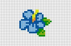 Blue Hibiscus Pixel Art – Famous Last Words Tiny Cross Stitch, Cross Stitch Flowers, Cross Stitch Designs, Cross Stitch Embroidery, Cross Stitch Patterns, Modele Pixel Art, Pixel Art Grid, Pixel Drawing, Anime Pixel Art