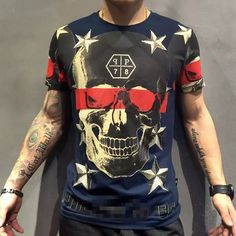 Find More T-Shirts Information about 2016 summer new men leisure cultivate  morality short sleeve T shirt iron skull drill collar men's  big yards,High Quality collar,China skull guitar Suppliers, Cheap collar short from UNO Boutique : Brand Men's wear & fashion sunglasses on Aliexpress.com