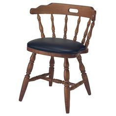 Solid Wood Captains Chair with Vinyl Seat #diningchair | National Business Furniture