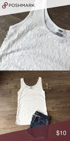Add a little sparkle! Super cute sequined tank! Not too sparkly but just enough to add a little something to your outfit!  No flaws and from a smoke free home. Old Navy Tops Tank Tops