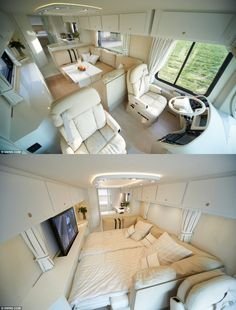 The motorhome with a state-of-the-art kitchen, luxury entertainment system… and storage for a supercar School Bus House, Motorhome Interior, Transportation Technology, Leather Car Seats, Van Home, Bus Life, Entertainment System, Kitchen Art, Tiny Living