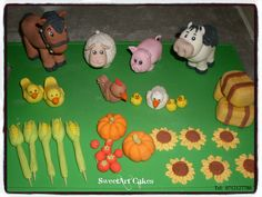 Gum paste farm decor set. For more info & orders, email sweetartbfn@gmail.com or call 0712127786.  Connect with me on Facebook -  www.facebook.com/SweetArtCakesBfn/ Farm Animal Cakes, Farm Animals, Sweetarts, Hay Bales, Farm Theme, Edible Cake, Girl Shower, Gum Paste, Cupcake Toppers