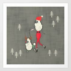 Merry Poodle Christmas! Art Print by Miba