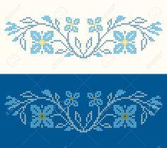Los Elementos De Diseño Para El Bordado De Punto De Cruz En Estilo étnico Tradicional Ucraniana. Los Colores Azules, Ilustración Vectorial. Ilustraciones Vectoriales, Clip Art Vectorizado Libre De Derechos. Image 23206065.