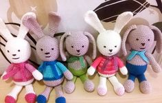 Amigurumi bunny Amigurumi Toys, Hello Kitty, Bunny, Clay, Christmas Ornaments, Holiday Decor, Crochet, Clays, Cute Bunny