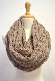 Loose Knitted Buttery Soft Chunky Circle Infinity Loop Eternity Scarf Heather Grey Tan. $32.00, via Etsy.