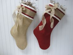 Shabby Chic Christmas Stocking in Red Burlap by TurnbowDesigns