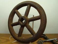 Vintage Iron Wheel 6 Spokes 4.25 Inch Diameter by ThreeOldKeys, $11.50