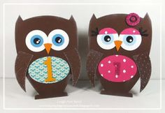 Owl cards I made for my niece & nephew's first birthday