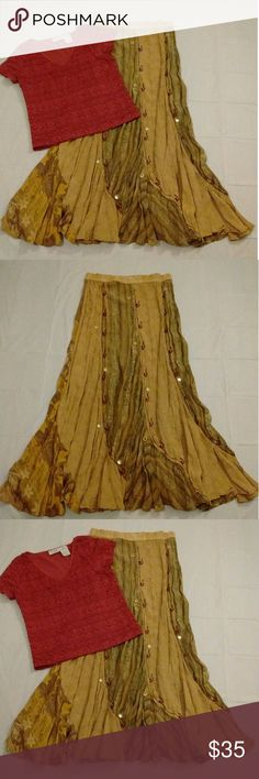 Boho Hippie Style Skirt EUC Lovely Long Boho Hippie Style Skirt.  Measures 15in Waste That Stretches To 17in & Is 37in Long.  It Is A Free Size But The Elastic Is Stretched Out So That Is The Exact Waste Fit Now. Although It Can Be Easily Taken In.  It Has Little Mirrored Inside The Circles & A Few Of Them Are In Distress As Noted In The Last Pic.  Thank You Kindly & Please Feel Free To Ask Questions.  Have A Blessed Day! Tienda Ho Skirts