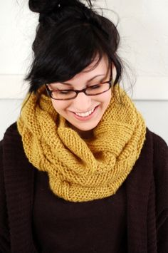 infinity yellow knitted scarf