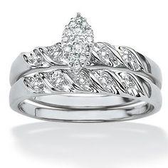 Palm Beach Jewelry Two-Piece Diamond Wedding Ring Set
