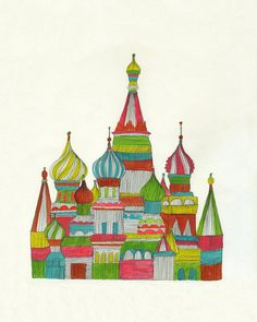 Russian Cathedral Archival Signed Print. $18.00, via Etsy.