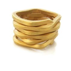 Visibly Interesting: Modern 18K Gold plate ring hand forged from a single continuous piece of heavy gauge wire