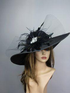 Black Wedding Head Piece Kentucky Derby Hat by LadyHatsBoutique