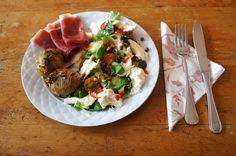 Hasselbacka potatoes with cured ham and mozzarella salad, #salad, #mozzarella
