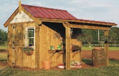 This is the shed I want to build for my use in our backyard. My dad said he'd come help! I love the metal roof and the little porch-looking area.