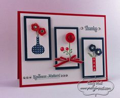 lovely handmade card in red, white & blue...three framed vases with button flowers...Stampin' Up!