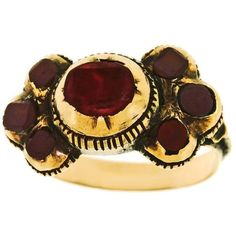 Preowned Georgian Garnet & Tourmaline Finger Ring In Gold ($2,350) ❤ liked on Polyvore featuring jewelry, rings, multiple, bezel setting ring, gold jewelry, gold garnet ring, garnet jewellery and yellow gold garnet ring