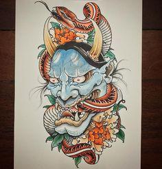 Cat Skull Tattoo, Oni Mask Tattoo, Hanya Tattoo, Mascara Hannya, Tattoo Drawings, Body Art Tattoos, Chinese Tattoo Designs, Left Arm Tattoos, Koi