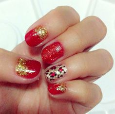 Red and gold leopard glitter nails