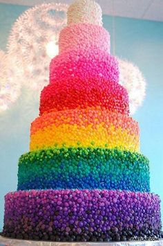 Idk if cake is considered candy.... But it's a pretty cake!!! It looks like it's been skittle bombed!!