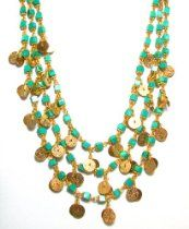 """Rachel Reinhardt """"Kate"""" 14k Gold Plated Triple Strand Necklace with Turquoise Cube Beads and Textured Gold Disk Dangles"""