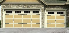 These carriage house style garage doors would be a beautiful addition to a craftsman home design. | www.Wayne-Dalton.com