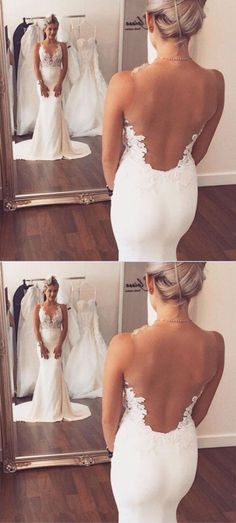 White Mermaid Sleeveless Sweep Train Open Back Wedding Dress with Appliques #Mermaid #Sweeptrain #Weddingdress