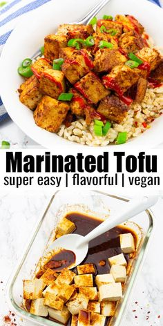You think tofu is boring and has a plain taste? Then try this tofu marinade! It'… You think tofu is boring and has a plain taste? Then try this tofu marinade! It's super easy to make and it's packed with flavor. I love serving my marinated tofu over brown Vegan Dinner Recipes, Vegan Dinners, Vegan Recipes Easy, Lunch Recipes, Asian Recipes, Whole Food Recipes, Cooking Recipes, Vegan Recipes With Rice, Summer Recipes