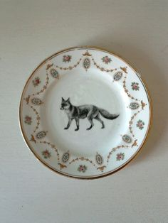 Altered Art Plate vintage Victorian Fox by TheLuckyFox on Etsy, $19.00