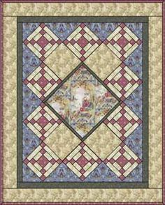 From ConnectingThreads.com. This quilt was designed to highlight the Art Noveau Romance fabrics by RJR, but it would work as well for any large motif or panel fabric.