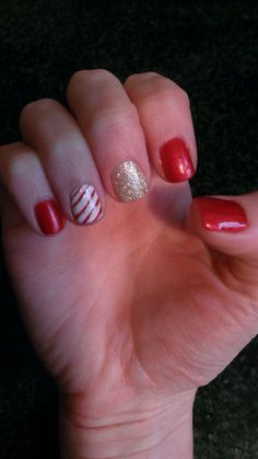 Candy cane, Nail Art, Christmas, Christmas Nails, Nail Design, Glitter, OPI, OPI GelColor, Mariah Carey, In My Santa Suit, My Favorite Ornament. Shellac. By: Julie Lemr.
