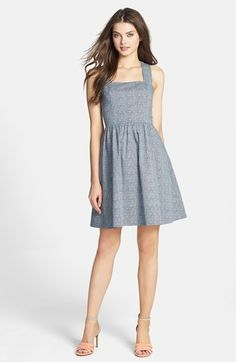 Maia Print Bow Back Stretch Cotton Fit & Flare Dress available at #Nordstrom