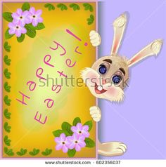 Fluffy bunny rabbit Easter greeting card. Vector illustration. Vector background.