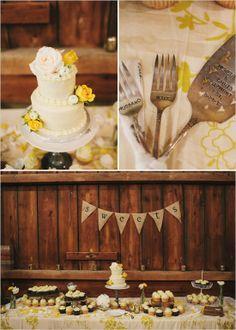 desert table... love the forks and cake knife (Wedding Chicks)