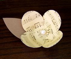 1 Music Note Flower Vintage Inspired Boutonniere by theepapergirl, $7.00