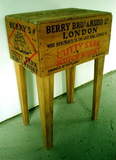 Recipe: Take one interesting old advertising box, add legs and you have an easy side table.