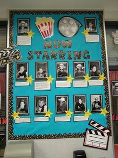 For Variety show. -Hollywood Classroom Theme -pictures / photos -tips / ideas -bulletin board ideas -elementary school grade & kindergarten) Movie Bulletin Boards, School Bulletin Boards, School Classroom, Movie Classroom, September Bulletin Boards, Welcome Bulletin Boards, Birthday Bulletin Boards, Classroom Board, School Office