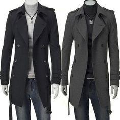 2013 Long Double Breasted Slim Fit Men's Trench Coat Grey Black Jacket M XXL | eBay