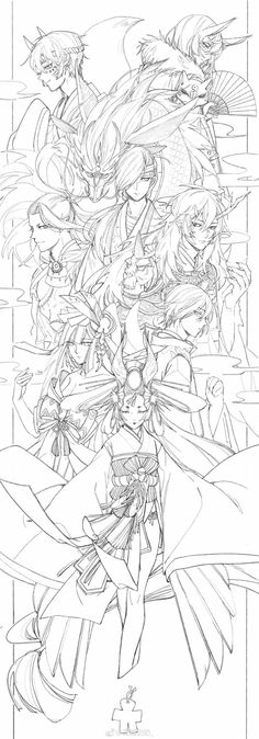 My Homepage Discover new things anytime, anywhere. Reference Manga, Art Reference Poses, Colouring Pages, Coloring Books, Art Sketches, Art Drawings, Onmyoji Game, Chica Anime Manga, Anime Sketch